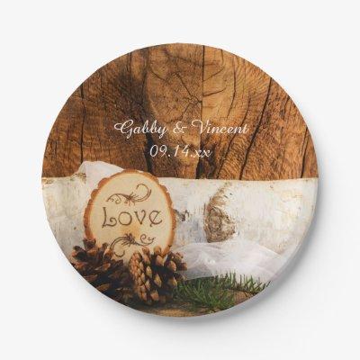 Birch Tree Heart Rustic Wedding Paper Plate | Zazzle.com
