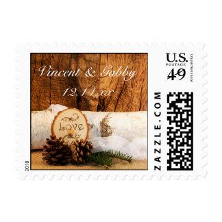 Rustic Birch Tree and Barn Wood Wedding Postage Stamp