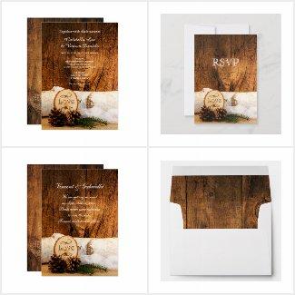 Rustic Birch Tree and Barn Wood Wedding Stationery