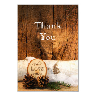Rustic Birch Tree and Barn Wood Wedding Thank You Card
