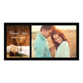 Rustic Birch Tree and Barn Wood Wedding Thank You Card