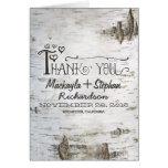 rustic birch tree bark wedding thank you card