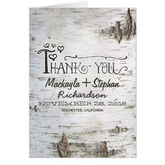 rustic birch tree bark wedding thank you card – Zazzle Wedding Thank You Cards
