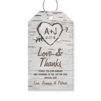 Rustic Birch Tree Bark Wedding Thank You Tags