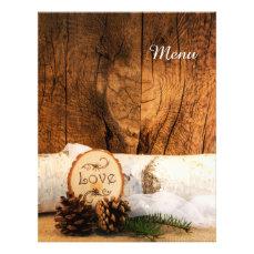 Rustic Birch Tree Barn Wood Country Wedding Menu