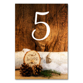 Rustic Birch Tree Barn Wood Wedding Table Numbers