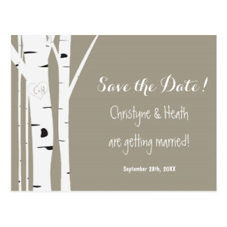 Rustic Birch Tree Carved Heart Save Date Postcard