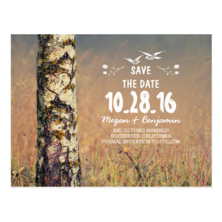 Rustic birch tree heart country save the date postcard
