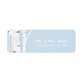 Rustic Birch Tree Heart Icy Blue Address Labels