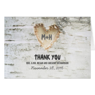 Rustic Birch Tree Heart Wedding Thank You Card