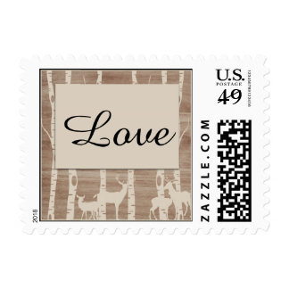 Rustic Birch Trees and Deer Postage Stamp