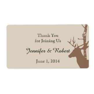 Rustic Birch Trees and Deer Water Bottle Label
