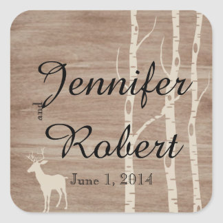 Rustic Birch Trees and Deer Wedding Envelope Seal Square Sticker