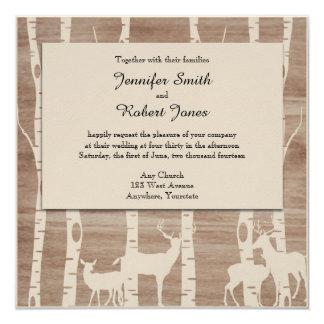 "Rustic Birch Trees and Deer Wedding Invitation 5.25"" Square Invitation Card"