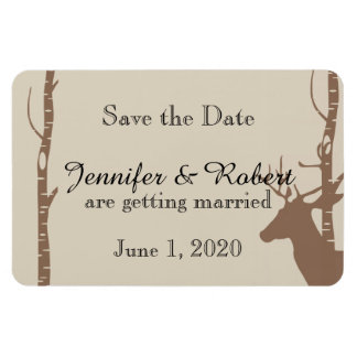 Rustic Birch Trees and Deer Wedding Save the Date Rectangular Photo Magnet