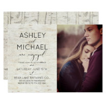Rustic Birch Typography Photo Engagement Party Invitation