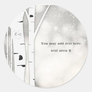 Rustic Birch Winter White Snowy Wedding Sticker