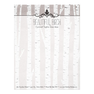 Rustic Birch Wood Trees & Branches Natural Modern Letterhead