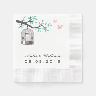 Rustic Bird Cage and Dove Wedding Paper Napkins
