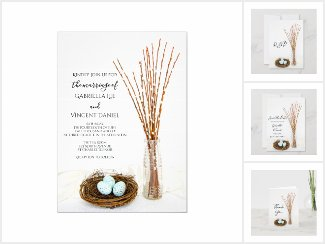 Rustic Bird Nest Eggs and Pussy Willows Wedding