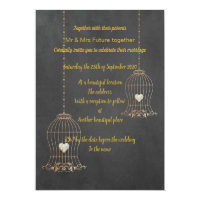 RUSTIC BIRDCAGE CHALKBOARD WEDDING CUSTOM INVITATION