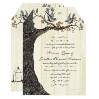 Rustic Birdcage Peach Vintage Lovebirds Wedding Card