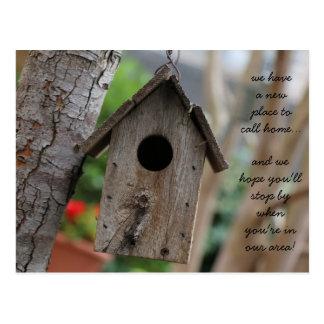 Rustic Birdhouse, change of address cards Postcard