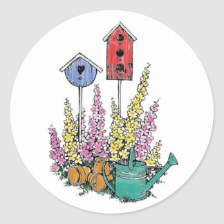 Rustic Birdhouse Garden Watercolor Sketch Classic Round Sticker