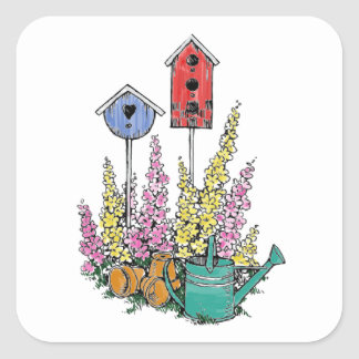 Rustic Birdhouse Garden Watercolor Sketch Square Sticker
