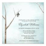 Rustic Birdhouse Tree Winter Snow Bridal Shower Invite