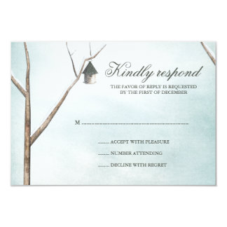 Rustic Birdhouse Tree Winter Snow Response Card