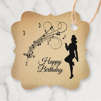 Rustic Birthday Dancer and Music Notes Favor Tags