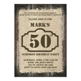 Rustic Birthday Surprise Party Invitation