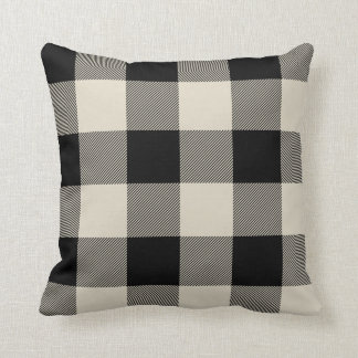 Rustic Black and Beige Buffalo Check Plaid Throw Pillow