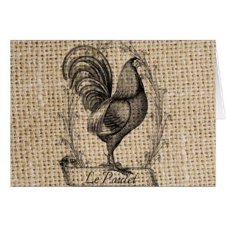 rustic black and grey rooster design on burlap greeting card