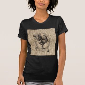 rustic black and grey rooster design on burlap T-Shirt