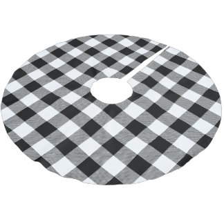 Rustic Black and White Buffalo Check Plaid Brushed Polyester Tree Skirt