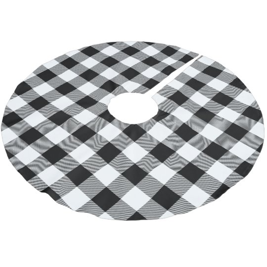 76ca9401886d Rustic Black and White Buffalo Check Plaid Brushed Polyester Tree Skirt    Zazzle.com