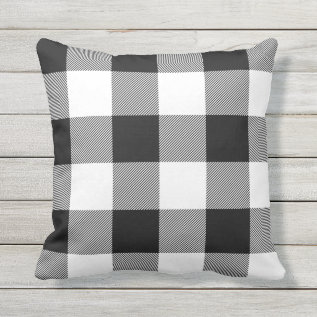 Rustic Black And White Buffalo Check Plaid Outdoor Pillow at Zazzle