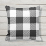 "Rustic Black and White Buffalo Check Plaid Outdoor Pillow<br><div class=""desc"">Add a stylish touch to your home with a rustic black and white buffalo check plaid patterned throw pillow. Create a unique,  personalized design by adding text,  images,  and more with the Customize It button.</div>"