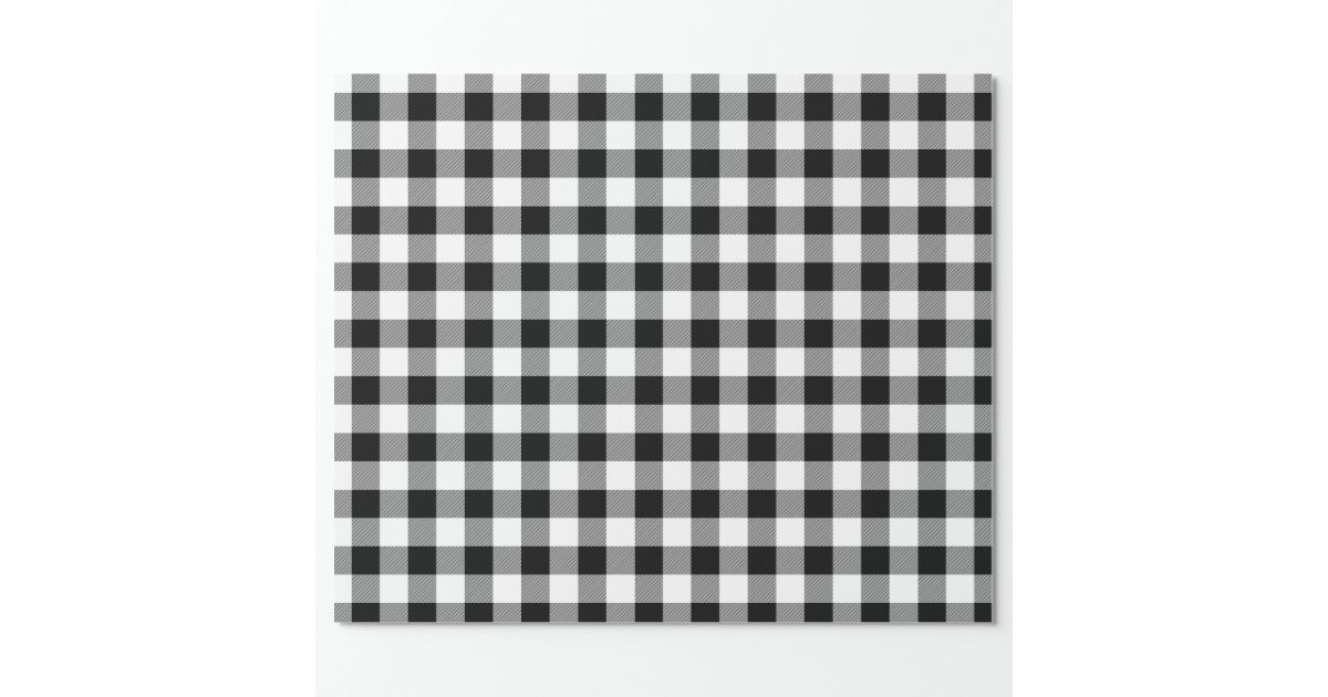 Rustic Black and White Buffalo Check Wrapping Paper | Zazzle