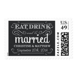 Rustic Black and White Burlap Wedding Postage
