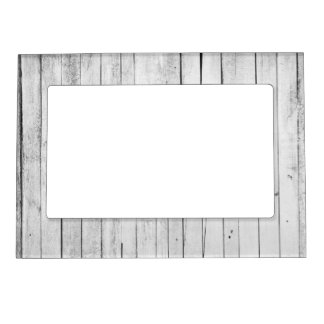 Rustic Black and White Wood Panel Farm Magnetic Photo Frame