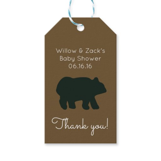Rustic Black Bear Customized Gift Tag