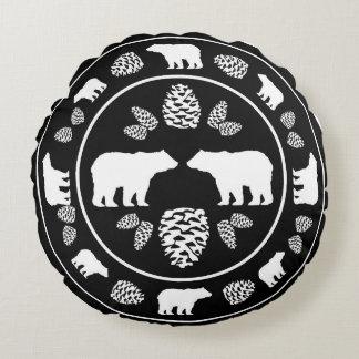 Rustic black bear pinecone round pillow