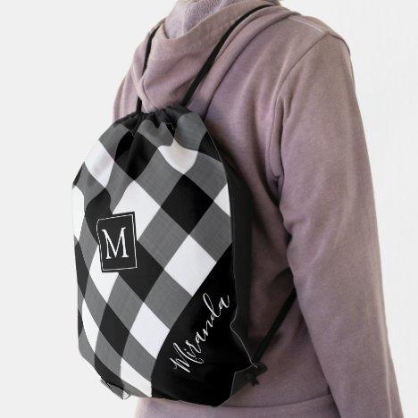 Rustic Black Buffalo Check Plaid Monogram Name Drawstring Bag