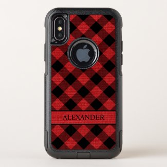Rustic Black Buffalo Plaid Red Linen Photo Name OtterBox Commuter iPhone XS Case