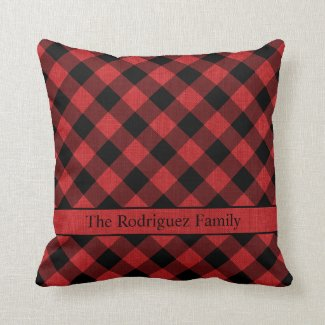 Rustic Black Buffalo Plaid Red Linen Photo Name Throw Pillow