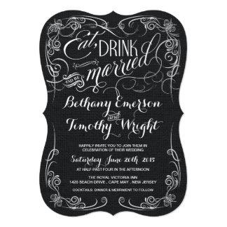 Rustic Black Burlap Die-Cut Wedding Invitations