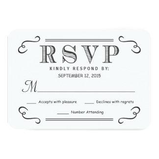 Rustic Black Burlap RSVP Wedding Reply 3.5x5 Paper Invitation Card